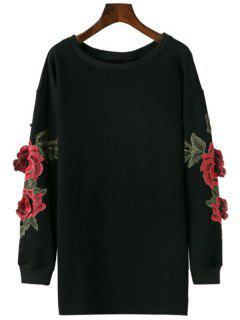 Longline Applique Sweatshirt - Black S