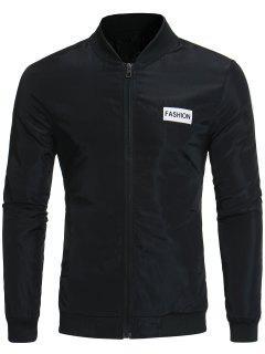 Stand Collar Selvedge Embellished Bomber Jacket - Black M