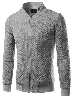 Rhombus Embossing Panel Zip Up Jacket - Light Gray 5xl