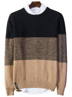 Crew Neck Color Block Popcorn Knitted Sweater - Black 2xl