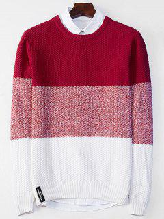 Crew Neck Color Block Popcorn Knitted Sweater - Red L