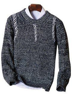 Crew Neck Sennit Design Sweater - Deep Blue Xl