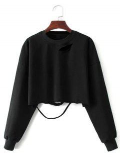 Cropped Ripped Sweatshirt - Black