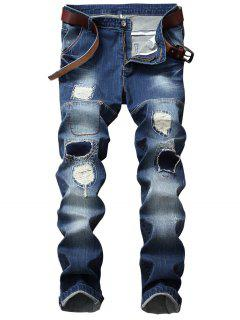 Zipper Fly Patch Design Straight Leg Ripped Jeans - Blue 40