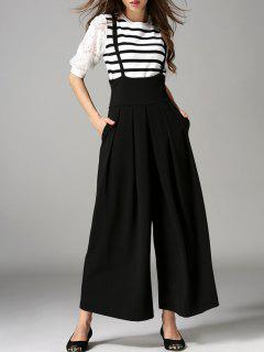 Cross Back Wide Leg Suspender Pants - Black S