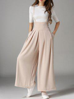 Cross Back Wide Leg Suspender Pants - Apricot S