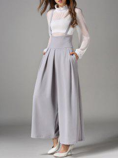 Cross Back Wide Leg Suspender Pants - Gray S