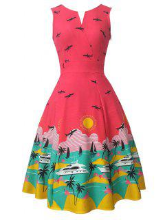Sleeveless Printed Swing Vintage Kleid - Rot Xl