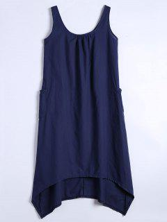 U Neck Sleeveless Asymmetric Dress - Purplish Blue 2xl