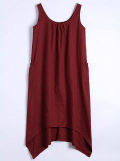 U Neck Sleeveless Asymmetric Dress - Deep Red Xl