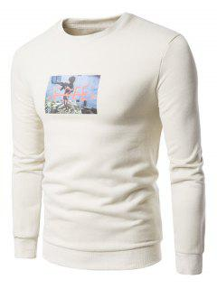 Crew Neck 3D War Boy Print Fleece Sweatshirt - Off-white L