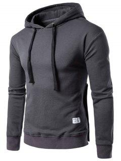 Hooded Side Button Slit Drawstring Hoodie - Deep Gray Xl