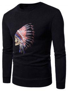 Crew Neck Skull Chief Print Fleece Sweatshirt - Black L