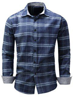 Turndown Collar Tartan Chambray Shirt - Blue 2xl