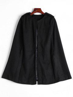 Plain Cape Coat - Black M