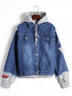Ripped Patched Hoode Denim Jacket - Denim Blue M