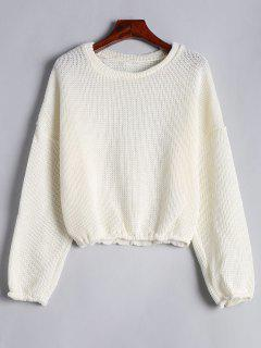 Drop Shoulder Plain Pullover Sweater - Off-white L