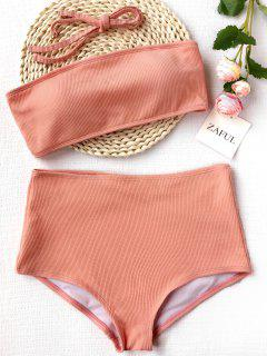 Ribbed Texture Bandeau High Waisted Bikini - Pink L