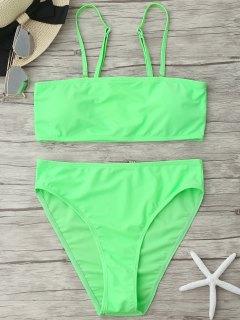 Ensemble Bikini Bandeau Paddé à Coupe Haute - Néon Verte S