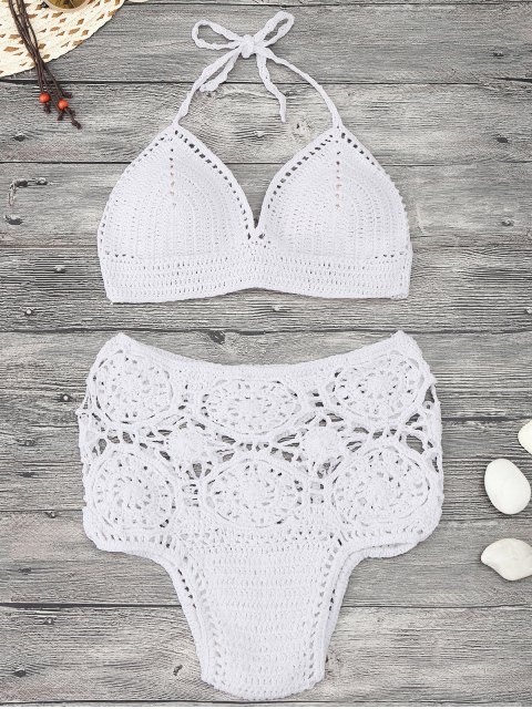 affordable Padded Crochet High Waisted Bikini Set - WHITE M Mobile