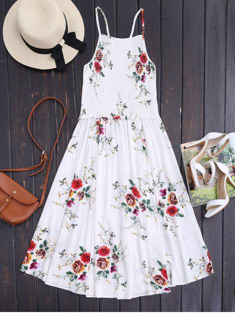 Robe Midi A Line Smockée Florale - Blanches feurs S Mobile