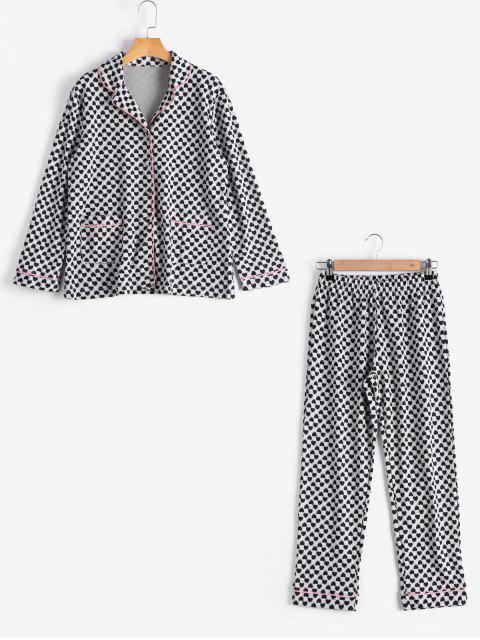 Loungewear camisa de patrón de corazón con pantalones - Negro L Mobile