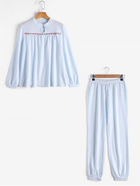 Loungewear Plaid T-Shirt mit Hosen - Blau XL Mobile