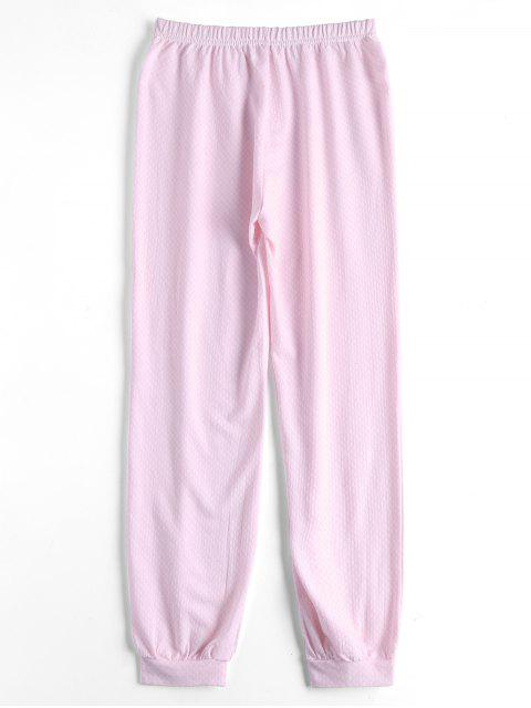 hot Loungewear Plaid Tee With Pants - PINK M Mobile