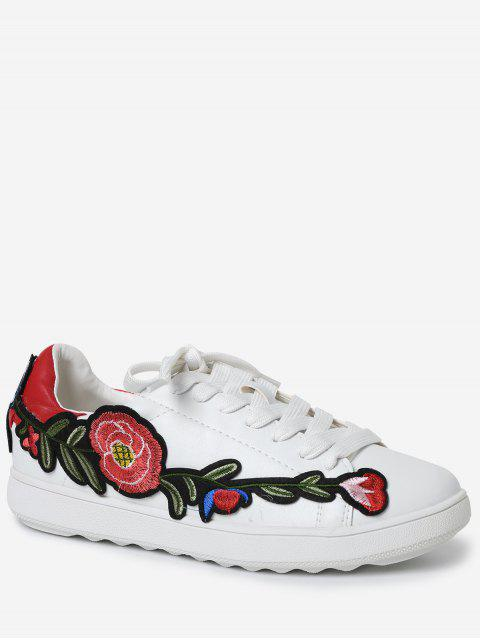 outfits Faux Leather Floral Embroidery Sneakers - RED 38 Mobile