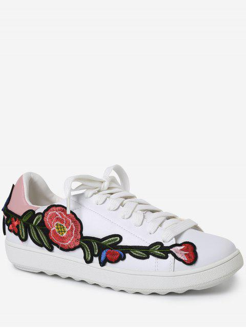 fashion Faux Leather Floral Embroidery Sneakers - PINK 39 Mobile