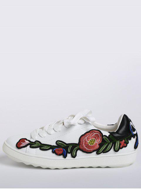 trendy Faux Leather Floral Embroidery Sneakers - BLACK 38 Mobile