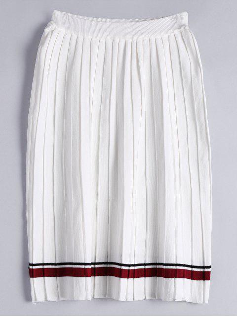 Jupe plissée tricotée haute taille - Blanc TAILLE MOYENNE Mobile