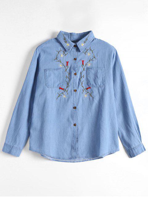 Chemise de poche patée boutonnée boutonnée - Bleu clair S Mobile