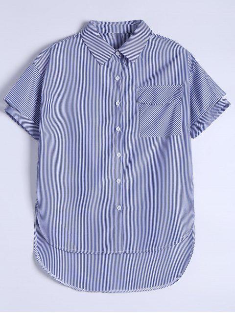 Chemise Rayée Boutonnée à Poche - Bleu S Mobile