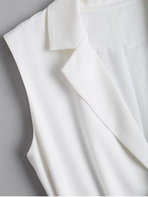 Chaleco largo de la solapa con cinturón - Blanco XL Mobile
