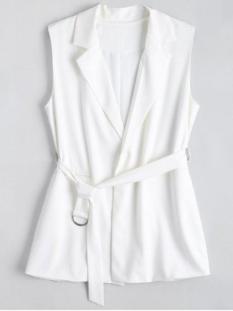 affordable Long Belted Lapel Waistcoat - WHITE L Mobile