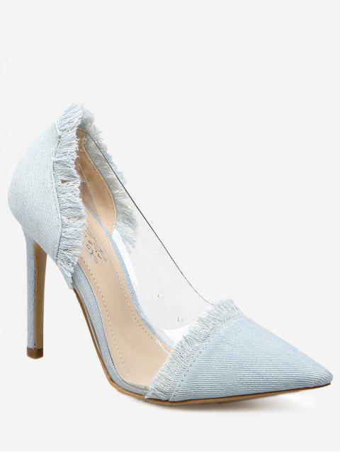 Chaussures Denim Frangé Empiècement Transparent à Talon Poitu - Bleu clair 38 Mobile