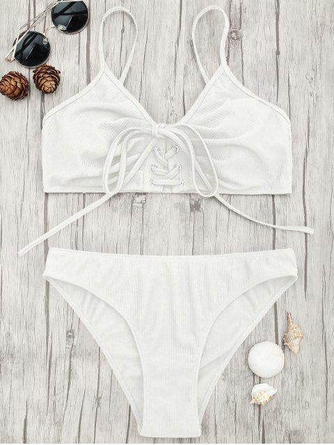 fancy Eyelets Lace Up Bralette Bikini Set - WHITE M Mobile