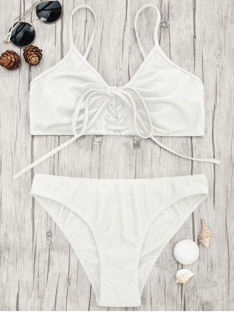 unique Eyelets Lace Up Bralette Bikini Set - WHITE S Mobile