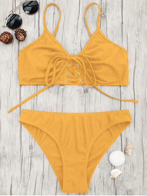 womens Eyelets Lace Up Bralette Bikini Set - GINGER L Mobile