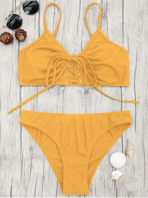 women's Eyelets Lace Up Bralette Bikini Set - GINGER S Mobile