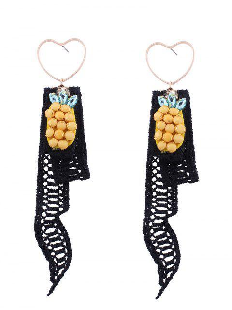 Spitze Ananas Anhänger Herz Ohrringe - Schwarz  Mobile