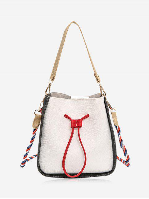shops Color Block Drawstring Bucket Bag - OFF-WHITE  Mobile