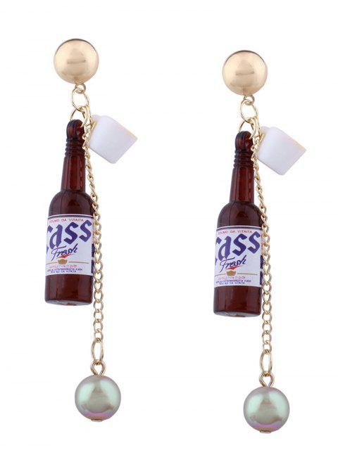 latest Wine Bottle Faux Pearl Pendant Earrings - BROWN  Mobile