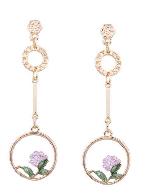 Boucles d'oreilles pendentif en fleur - ROSE PÂLE  Mobile