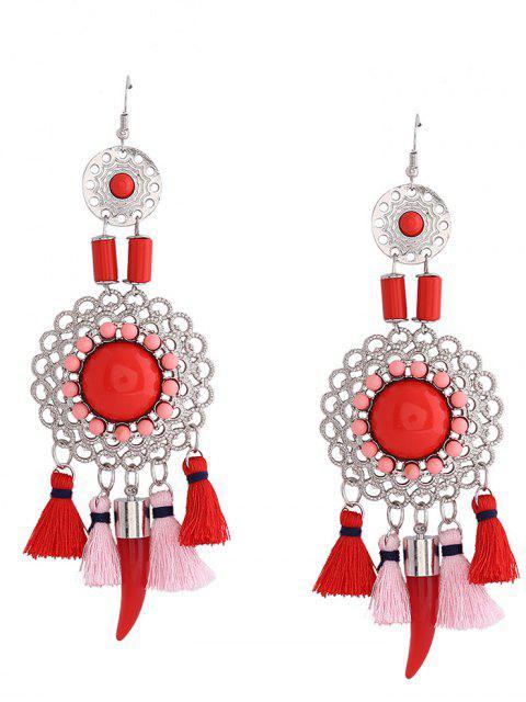 Boucles d'oreilles en croûte de poil - Rouge  Mobile
