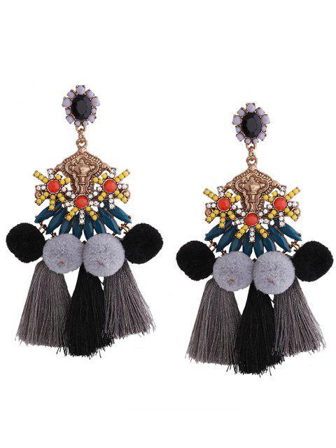 Boucles d'oreille Pom Pom Tassel Pendentif - Noir  Mobile