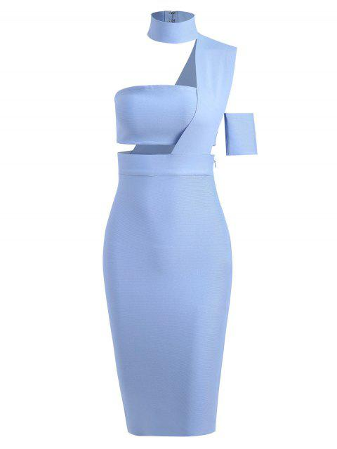 womens Bandeau Top and High Waist Skirt Set - LIGHT BLUE S Mobile