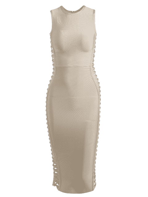 best Hollow Out Sleeveless Slit Bandage Dress - APRICOT M Mobile