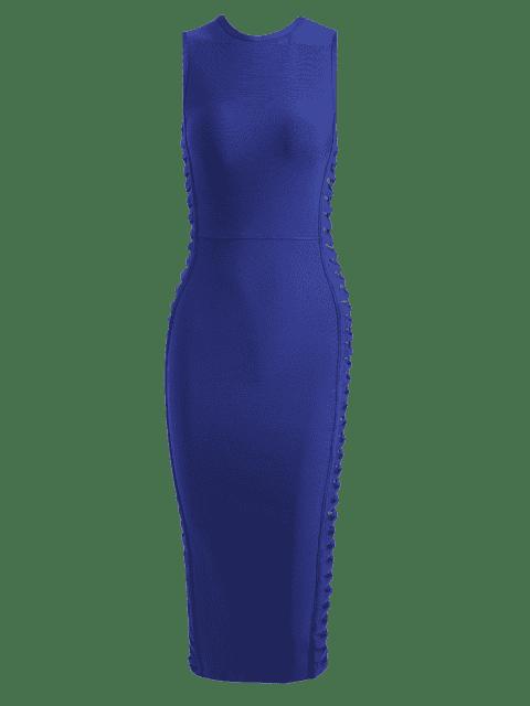 womens Hollow Out Sleeveless Slit Bandage Dress - BLUE M Mobile
